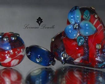 Lampwork Glass Heart Focal Pendant bead Set - SRA Lorraine Dowdle