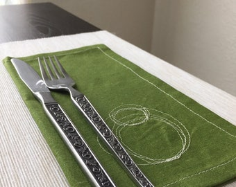 Cotton Napkins / Reusable Fabric Napkins / Olive Green Cloth Napkins with Circle Scribbles