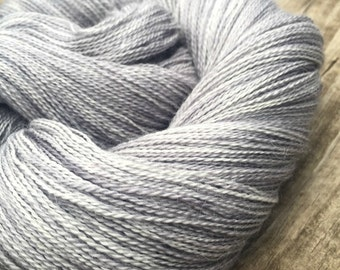 hand dyed lace weight yarn cashmere blend yarn Pieces of Eight 875 yards baby alpaca silk cashmere silver gray grey pirate coins