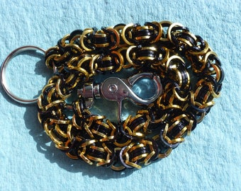 Gold and Black Biker Wallet Chain - Byzantine with squared rings