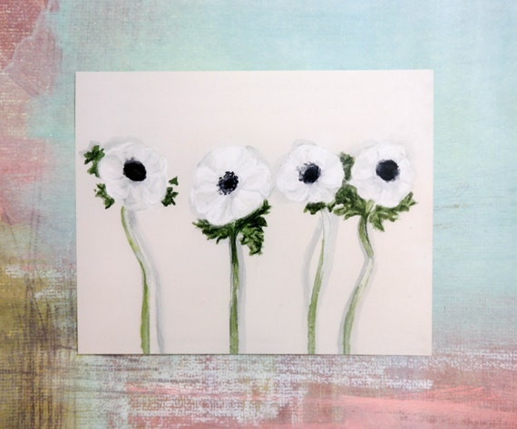 Watercolor Botanical Study: White Poppies art print of an original watercolor illustration *SALE - 20% OFF*