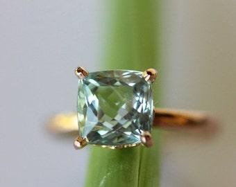 Holidays Sale - Aquamarine Ring In 14K Rose Gold Engagement Ring, Gemstone Ring, Eco Friendly, Recycled Gold, Cushion Shape Gemstone - Made