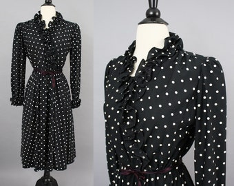 vintage 70s Black and White Polka Dot Ruffle Secretary Dress / 1970s Wrap Bodice Long Sleeve Fall Winter Office Dress / XL Volup B41""
