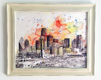 Dallas Texas Abstract Cityscape Skyline Landscape Painting - Original 11 x 14 in. Abstract Skyline Watercolor Painting
