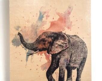 Wood Wall Art Panel Elephant Nursery Decor Animal Art on Wood Elephant Nursery Art Decor Great Elephant Painting on Wood Wall Art