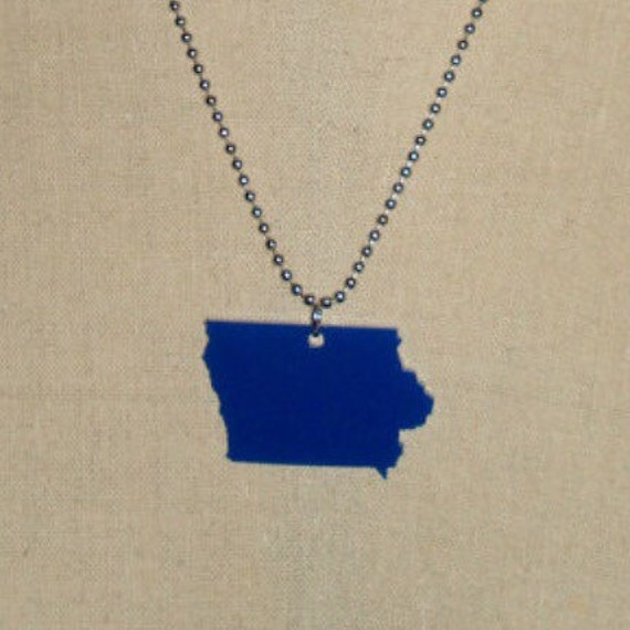 State Necklace, Iowa Blue Acrylic Laser Cut State Pride Jewelry
