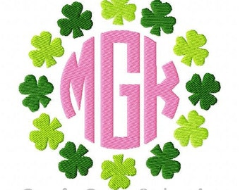 St. Patrick's Day Shamrock Circle Frame Machine Embroidery Design