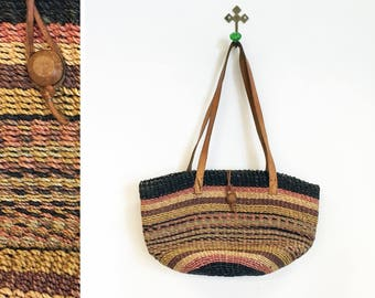 Vintage 1970s-80s Sisal/Jute and Leather Purse/ Shoulder Bag by Waves Made in Philippines