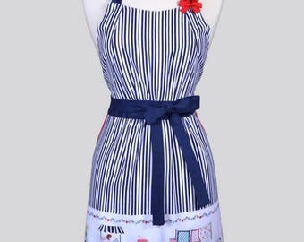SALE Classic Womens Full Apron / Vintage Market Border and Navy Stripes Cute Vintage Style Kitchen Cooking Apron with Pockets