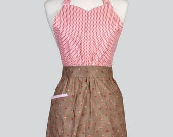 SALE Blossom Womens Full Apron - Pink Polka Dots and Rose Bud Floral Mothers Day Cute Vintage Kitchen Apron with Pockets and Adjustable Neck
