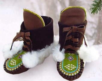 "Child Mukluks By Desi, Deerskin Leather, 6 1/4"" Long, Children Size 10, Sheepskin Fur Boots, Pow Wow, Toddler,  Regaila Outfit, Boy, Girl"