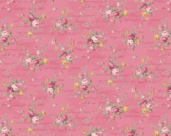 Ruru Bouquet Love Rose Love Cotton Fabric Rose ru2300-15e  Small  Roses on dark pink with Script