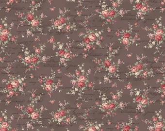 Ruru Bouquet Love Rose Love Cotton Fabric Rose ru2300-15f  Small  Roses on brown with Script