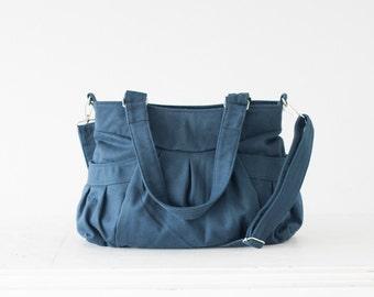 Crossbody bag in petrol blue cotton, messenger purse convertible bag over the shoulder bag - Elessa bag