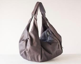 Grey hobo leather bag, large slouchy hobo purse shoulder soft leather bag hobo carryall bag weekend sling - Kallia bag