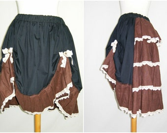 Steampunk   bustle skirt  ,Brown ruffle , for steampunk one of a kind ,free size