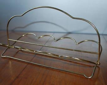 vintage glass rack - glass caddy - folding rack - gold tone drink server - midcentury barware