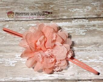 30% OFF SPRING SALE Peach Flower Headband, Lace, Infant Headband, Baby Headband, Hair Bows, Newborn Headband, Baptism, Weddings, Birthday Bo