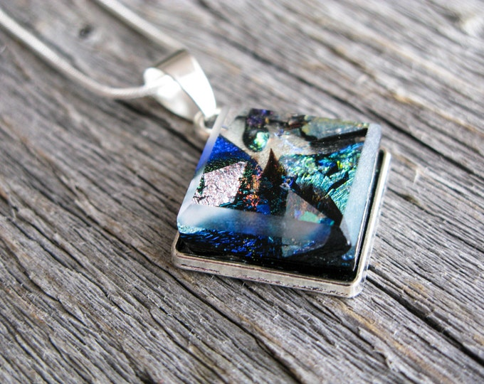 Space pendant galaxy, Gift for her, Coworker gift, Nebula necklace, Pendant necklace, Glass pendant nebula, One of a kind, Rainbow necklace