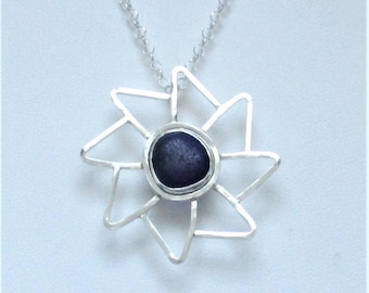 Sea Glass Jewelry - Sterling Dark Cobalt Blue English Sea Glass Necklace