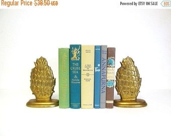 ON SALE Vintage Brass Pineapple Bookends