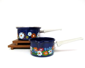 Vintage Cobalt Blue with Flowers Enamelware Butter Warmer or Sauce Pan