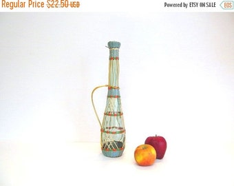 On Sale Vintage Boho Vinyl Wrapped Wine Bottle