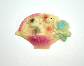 Vintage 1950's brooch Steiff teddy bears in a basket, plastic brooch pin, made in Japan