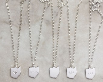 Choose Your State Necklace | Dainty Silver Necklace | Heart | State Name | Blank | Area Code | Initials | N60022