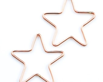 1 - 14kt Rose Gold Filled Open Star Charm - 21mm x 22mm