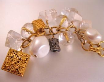 DIANE KATZMAN Designer 14k GF Charm Toggle Tassel Pendant Necklace Crystal Sterling Pearl Vintage Jewelry Jewellery