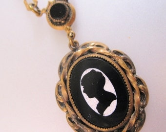 1800s Victorian Cameo Lavaliere Book Chain Necklace Pietra Dura Mourning Antique Jewelry Jewellery