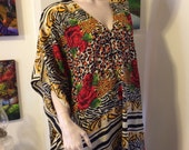 Vintage 70s Gold Cheetah Jungle Print Roses Deep V Ladies Caftan Hostess Cruise Dress One Size All