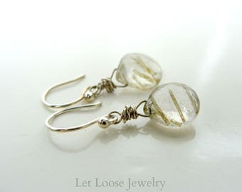 Rutilated quartz earrings, genuine gemstones sterling and Argentium silver, dainty small simple, Let Loose Jewelry, under