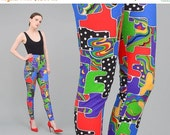 HOLIDAY SALE DEADSTOCK 80s 90s Leggings Colorful Stretch Pants Artsy Print Tights High Waisted Cotton Lycra Leggings Xs S