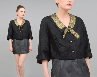 Vintage 60s Brocade Jacket Boxy Vintage Cropped Jacket Bow Neck 1960s Evening Bolero Jacket Black Gold Large L