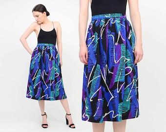 Vintage 80s Abstract Artsy SCRIBBLE Brush Stroke Print Skirt - High Waist Full Midi Skirt - Black Blue Purple Medium M