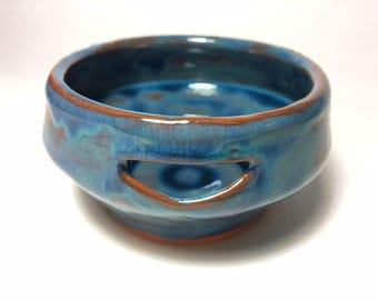 blue ceramic egg separator