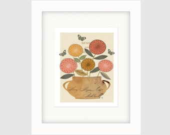 "Botanical Art Collage, Still Life Collage, Folk Art Botanical Collage, Botanical Art Print, ""Sense and Sensibility"""