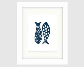 Instant Download Printable Art, Graphic Indigo Fish Print, Original Art, Contemporary Wall Art, Minimalist Wall Decor Coastal Décor