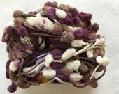 Lucci Pom Pom #8449 Grape Purple, Brown, White Soft Nylon Pom Pom Yarn - 50 Gram 83 Yards