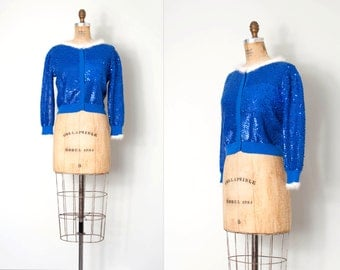 vintage 1950s sequin sweater / blue 50s sequin cardigan / Party Time