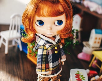 Blythe Fairy check Hooded-T - Yellow