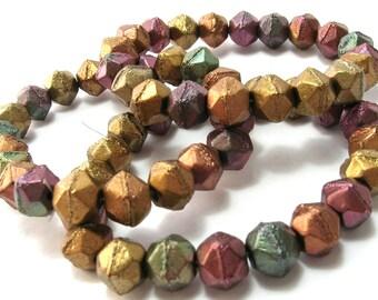 Czech Glass Matte Autumn Metallics English Cut Bead (8mm) - Czech Beads