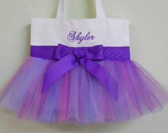 Naptime 21, Embroidered Dance Tutu Bag, tutu tote bag, White Tote bag, dance bags, Tutu Tote Bag, tutu ballet bag, tutu dance bag TB940 - BP