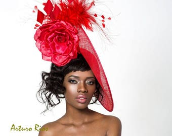 Red Disk fascinator, Kentucky derby hat, Derby Hatinator , Melbourne cup fascinator.
