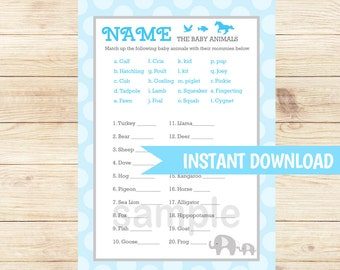 Blue Mod Elephant Boy Baby Shower Name the Baby Animals Matching Game   Who's My Mommy? Printable PDF INSTANT DOWNLOAD bs-036