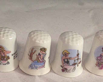 Signs of the zodiac ceramic thimbles,set of 12 thimbles,months of the  year ceramic thimbles