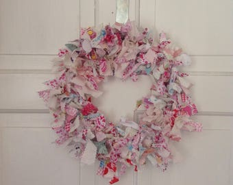 Pretty in Pink Shabby Chic Rag Wreath, Brocante Decoration