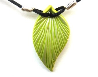 Lime Green Leaf Necklace, Pearl Highlights, Polymer Clay Pendant, Sculpted Leaf, Black Cord, Silver Plated Wire, Customizable
